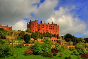 Обои Великобритания Замки Парки Деревья Powis Castle Wales Города фото