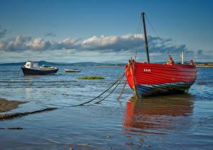 Картинка Великобритания Берег Лодки Облака Morecambe Bay Природа