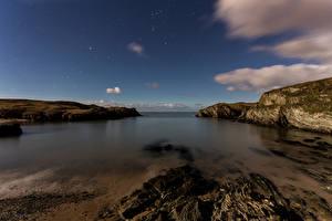 Обои Великобритания Побережье Вечер Небо Бухта Porth Dafarch Природа фото