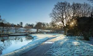 Обои Великобритания Зима Вечер Реки Снег Деревья Тропа Johnson Hill Locks Природа фото