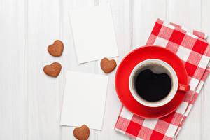 Обои День святого Валентина Кофе Печенье Доски Чашка Сердце Еда фото