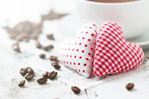 Обои День святого Валентина Кофе Сердце Двое Зерна фото