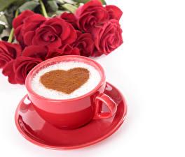 Обои День святого Валентина Кофе Розы Белый фон Чашка Сердце Красный Блюдце Еда фото