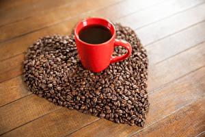 Обои День святого Валентина Кофе Доски Чашка Зерна Сердце Еда фото