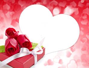 Обои День святого Валентина Розы Шаблон поздравительной открытки Красный Подарки Сердце Бантик Цветы фото