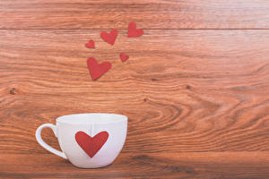 Обои День святого Валентина Доски Чашка Сердце Еда фото