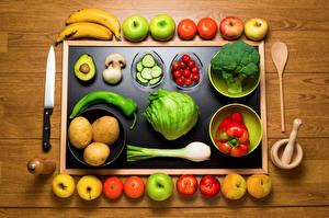 Обои Овощи Фрукты Яблоки Помидоры Перец Картофель Доски Еда фото