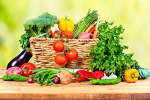 Обои Овощи Помидоры Перец Корзинка Еда фото