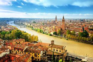 Обои Верона Италия Дома Реки Небо Водный канал Города фото