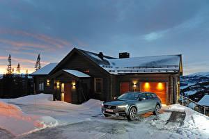 Картинки Volvo Зима Особняк 2016-17 V90 D5 Cross Country Worldwide Автомобили