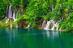 Обои Водопады Озеро Хорватия Деревья Plitvice Lakes Природа фото
