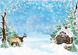 Обои Зима Дома Олени Снег Природа фото