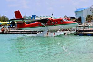 Картинки Самолеты Пирсы Вода Гидросамолёт