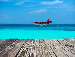 Фотографии Самолеты Море Доски Гидроплан Авиация