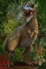 Картинки Древние животные Динозавры Тираннозавр рекс Оскал Животные