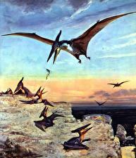 Картинки Древние животные Динозавры Zdenek Burian Pteranodon Животные