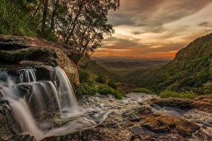 Фотографии Австралия Водопады Камень Вечер Queensland