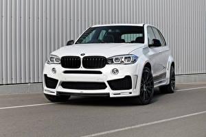 Обои для рабочего стола BMW Спереди Белая F15 Lumma Design Автомобили