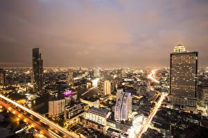 Фотография Бангкок Таиланд Дома Ночь Мегаполис