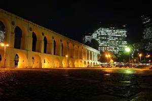 Обои Бразилия Дома Рио-де-Жанейро Ночь Уличные фонари Арка Города фото