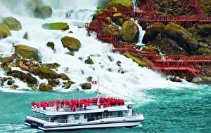 Обои Канада Водопады Камни Катера Мох Niagara Falls Природа