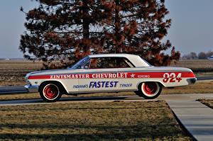 Фотографии Chevrolet Ретро Тюнинг Белый Сбоку 1962 Impala SS 409 Lightweight Coupe Машины