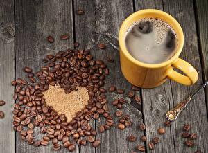 Обои Кофе Доски Зерна Сердце Кружка Еда картинки