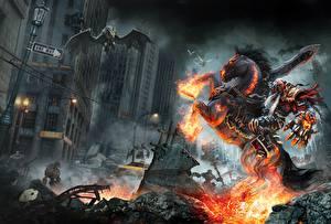 Фотографии Darksiders Лошади Нежить Воители Мечи Игры Фэнтези