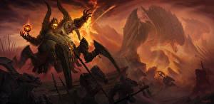 Обои Diablo III Магия Сверхъестественные существа Битвы Воители Azmodan Игры Фэнтези картинки