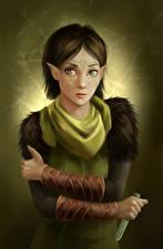 Фотографии Dragon Age II Эльфы Нож Merril Игры Фэнтези