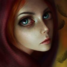 Фотографии Dragon Age II Лицо Взгляд Рыжая Капюшон Leliana Игры Девушки