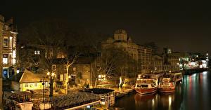 Фото Англия Дома Реки Пристань Речные суда Ночные York Города