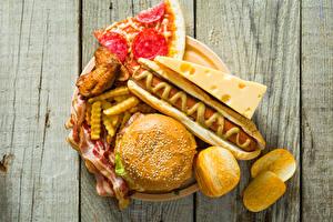 Фото Фастфуд Булочки Хот-дог Мясные продукты Картофель фри Доски Горчица