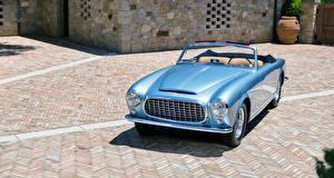 Фотография Феррари Ретро Голубой Кабриолет 1952 212 Inter Cabriolet Pininfarina Автомобили