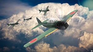 Фотографии Самолеты Истребители Летят Облака Японская Mitsubishi A6M5 Zero компьютерная игра Авиация