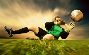 Фотография Футбол Мужчины Вратарь в футболе Мячик Перчатках