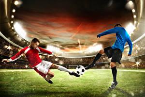 Картинка Футбол Мужчины Мяч Двое Ноги Униформа Трава Стадион Спорт