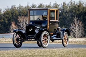 Картинки Форд Винтаж Черный Металлик 1920 Model T Coupe Автомобили
