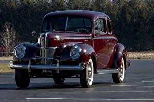 Картинки Ford Винтаж Темно красный Металлик 1940 V8 Deluxe 5-window Coupe машины