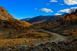 Обои Франция Горы Небо Дороги Камни Осень Альпы Природа фото