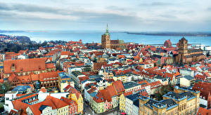 Картинки Германия Дома Реки Сверху Stralsund Города