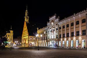 Обои Германия Здания Улица Ночь Уличные фонари Zwickau Города