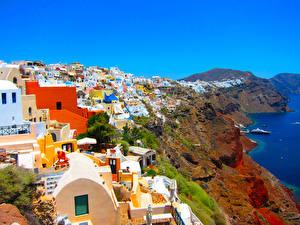 Картинки Греция Дома Побережье Санторини Скала Города