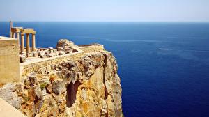 Фотографии Греция Море Скала