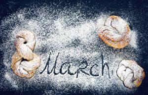 Фото Праздники 8 марта Выпечка Булочки Сахарная пудра Английский Еда