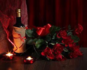 Картинка Праздники Международный женский день Букеты Розы Вино Свечи Красный Бутылки Цветы