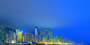 Фотография Гонконг Китай Дома Небоскребы Ночные Города