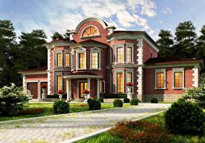 Фотографии Здания Особняк Дизайн Кусты 3D_Графика