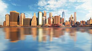 Фото Дома Небоскребы Побережье Америка Нью-Йорк Города