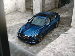 Обои Infiniti Синий Сверху 2016-17 Q50S 3.0t Автомобили